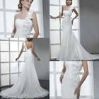 BW104 Classic Greece one shoulder ivory floral strap a-line ruched chiffon wedding dresses 2012
