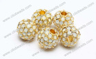 12mm gold plated opal crystal rhinestone beads