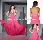 sparkling sexy bias-cut neckline and cut-out waist Fully beaded jewels on the bustline and waistline prom gown OLP109