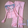 ladies suitable pink yogo sport set for hoody