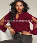 Smocked Blouse Neck Button closure fashion clothing in guang zhou