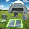 Camping solar tent with light and fan