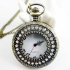Fashion 2012 Newest Necklace Pocket Watch, Quartz Movement, FD47008, 47 x 47mm Archaize Antique Bronze Pocket Watch