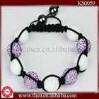 2012 New Arrivals Violet Crystal Pave ball with natural stone beaded bracelet