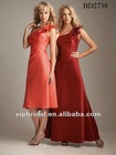 taffeta one shoulder with handmade flower orange bridesmaids dresses