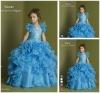 Blue Organza Tiered Ruched Floor Length Flower Girls Dress