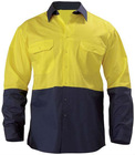 2 Tone Hi Vis Cool Lightweight Mesh Ventilated Drill Shirt