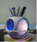 plastic Pen holder with LCD calendar & colorful backlight