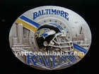fashion yellow blue enamel Baltimore Ravens oval Belt Buckle