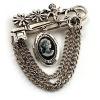 Vintage Cameo Locket, Angel, Key, Flower&Chain Pin Brooch