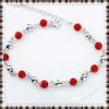 silver bracelets jewelry of 100% solid genuine 925 sterling silver beaded bracelets red agate lady jewelry bracelets
