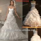 Strapless A-line Sweetheart Neckline Asymmetrical Dropped Bodice Ruffle Organza Real Sample Wedding Dress