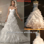 Strapless A-line Sweetheart Neckline Asymmetrical Dropped Bodice Ruffle Organza Real Sample Wedding Dress