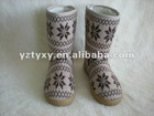 Women or girl knit warm snow boots with TPR outsole