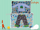 2013 New Arrivals White With Giraffe Lime Green Long Sleeve And Pant Baby Outfit Set Infant set