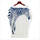 New Women's Fall 2011 fashion ladies zebra bat sleeve cotton t-shirt printing