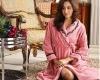 coral fleece bathrobe for women