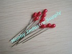 shiny red 55mm pear shaped pearl head pin