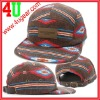 2012 Custom fashion cotton flat brim 5 panel embossed leather patch camp cap