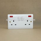 Double 13A BS standard switch socket with neon,double 13A british switch socket with light, double 3 pin square socket with neon