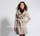 lady special collar belted wool coat