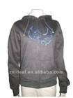 Ladies' health gray polyester cotton YKK Metal Zip up hoodies&sweatshirts