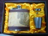 christmas & new year stainless steel hip flask gift set