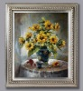 hand-made flower oil painting with wooden frame, Antique silver picture frame, photo frame