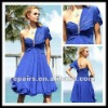 CD177 Royal Blue One Sleeve Beading Knee Length Chiffon Cocktail Dress 2012