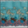 Hot Embroidery Blue French Voile Lace