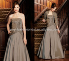 Strapless Embroidery Beaded Bodice With Taffeta Skirt Lace Jacket Included Silver Grey Mother of The Bride Dresses