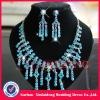 WNE007 In stock beautiful turquosice diamond wedding necklace set