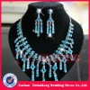 WNE007 In stock beautiful turquosice diamond wedding necklace set