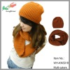 new arrival hot selling knitted snood winter hat and scarf for girl