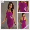 2430-1hs Sexy Charming One Shoulder Ruching Beading Sequins Mini short club party dresses
