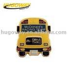 2012cartoon bus shaped engraved lapel pin