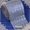 sapphire flower rhinestone mesh silver base
