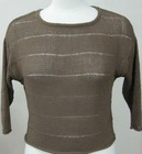 round neck three quarter sleeves coffee pullover stock clothes
