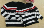 crew neck black white stripe sweaters for couple
