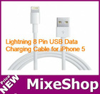 Lightning cable 8 Pin USB Data / Charging Cable for iPhone 5, iPad mini, iTouch 5, Length: 1m