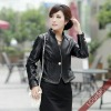 2012 Lady's Leather Jacket with stand collar Black