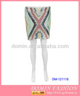Hot Selling Sequin Skirt;Beaded Skirt with Color Blocks for 2013