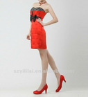 Mini Sheath Satin Strapless Red Party Dress