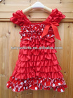 Adorable design Lace Petti Dress,wholesaleChristiams satin Dress,red white polk dot Fashion Lace Dress cap sleeve design