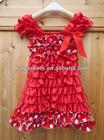 Adorable design Lace Petti Dress,wholesaleChristiams satin Dress,red white polk dot Fashion Lace Dress cap sleeve design