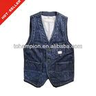 (# TG373V ) Fashion indigo denim cheap wholesale jean vest for men