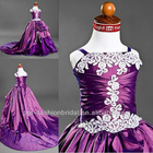 long train two-shoulder lace applique taffeta unique classic designs for girl dresses ball gowns for chidren 10 years