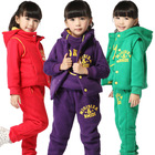 Guangzhou Export Trade Co.Ltd Fashion Model Children Christmas Track Set hoodie+pants+vest 3 pcs