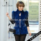 2013 Hot women real fur gilet raccoon dog fur Blue Genuine Rex Rabbit Fur Vest #1807-A-1