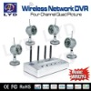 2.4Ghz Quad View Super DVR Remote Monitor Motion Detect Recording Waterproof IR Long Distance Wireless Security Camera System